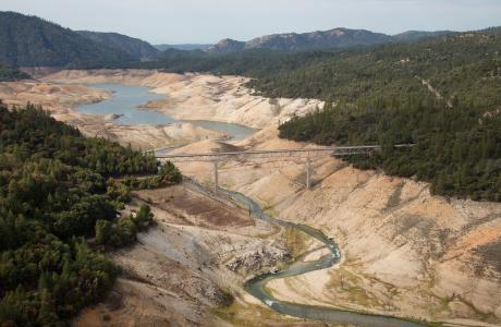 Lake Oroville shows the effects of drought in 2014.