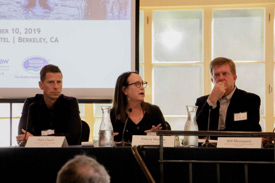UC Berkeley groundwater symposium panelists (from left) Dave Owen with UC Hastings School of the Law, former State Water Resources Control Board Chair Felicia Marcus and Bill Blomquist, with Indiana University Purdue University Indianapolis.