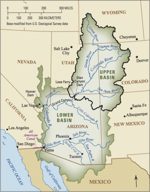 This map of the Colorado River Basin shows how the Colorado River winds 1,450 miles from mountaintop to sea in a basin that includes seven American states and two Mexican states.