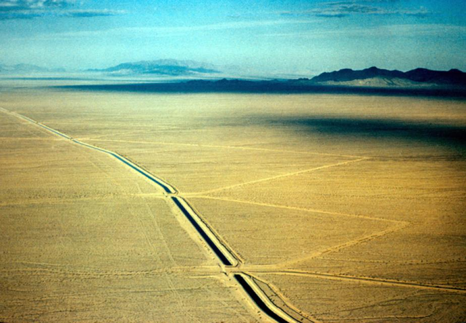 The Colorado River Aqueduct, built by the Metropolitan Water District  of Southern California, cuts through the California desert.