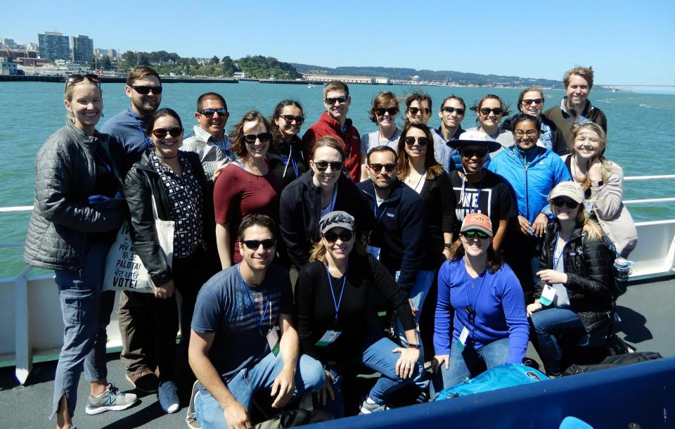 Members of our 2019 Water Leaders class gather on the deck of a ferry crossing San Francisco Bay during our Bay Delta Tour in June.