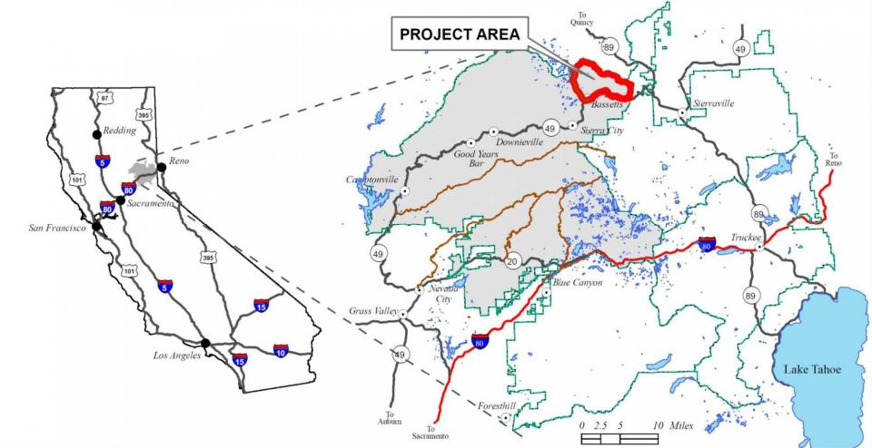The North Yuba River watershed project is in  where tree thinning, prescribed burning and meadow restoration work will be performed on up to 15,000 acres.