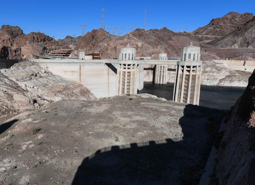 Lake Mead, behind Hoover Dam, shows the effects of nearly two decades of drought.