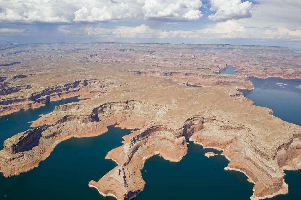 Aerial view of Lake Powell, at the southern end of the Upper Colorado River Basin.