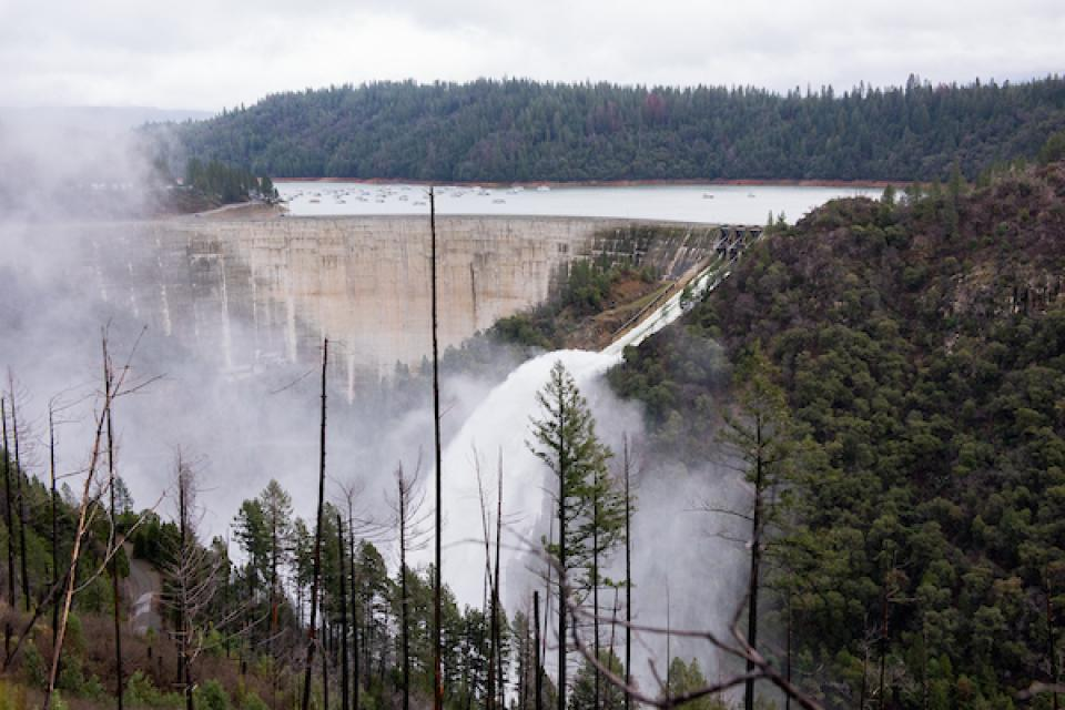 Bullards Bar Dam in the Sierra Nevada foothills north of Sacramento spills water during 2017 atmospheric river storms.