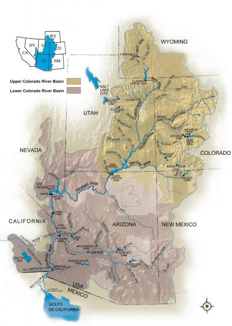Map of the Upper and Lower Basin Regions of the Colorado River Basin.