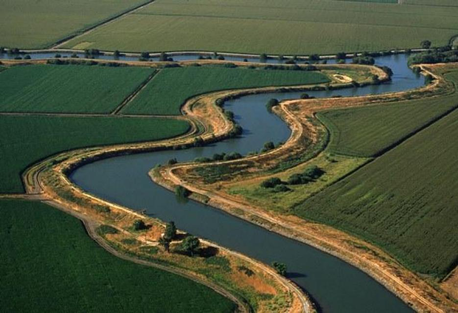 Aerial view of a part of the Sacramento-San Joaquin Delta.