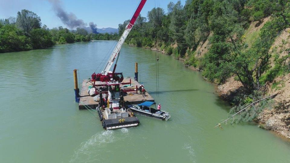 Boulders with tree stumps bolted to them were dropped into the Sacramento River in May 2017. to provide juvenile salmon a refuge from predators and the river's swift current.