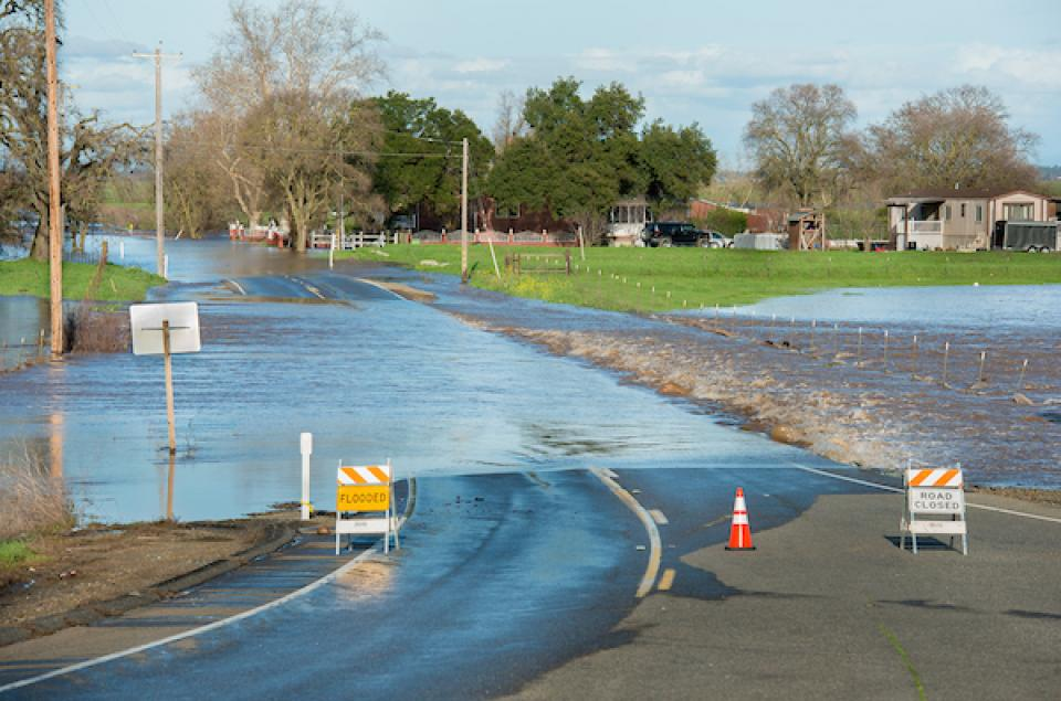 Road flooding south of Elk Grove