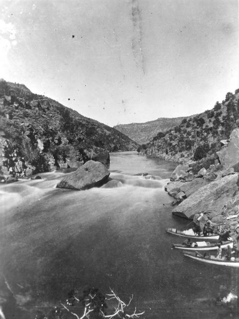 """Green River, the Red Canyon,"" from John Wesley Powell's second expedition, 1871."