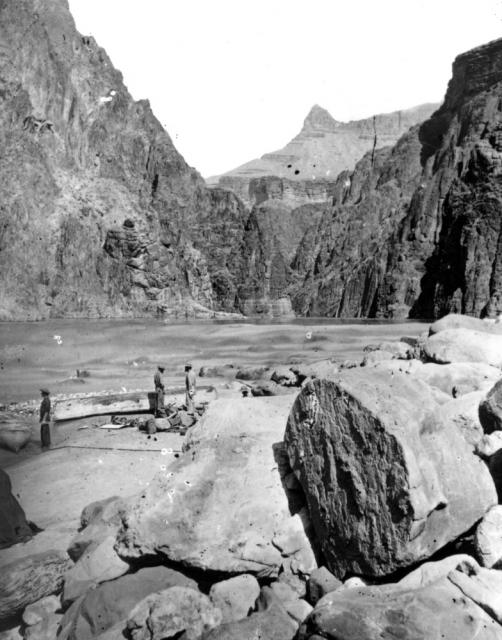 """Repairing boats in the first Granite Gorge,"" from Powell's second expedition down the Colorado River."