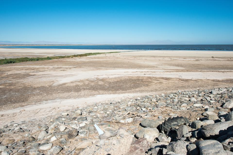 The Salton Sea in southeastern California is the state's largest lake and a key stop on the Pacific Flyway. Water diversions have resulting in shrinking the lake, causing public health and ecological concerns.