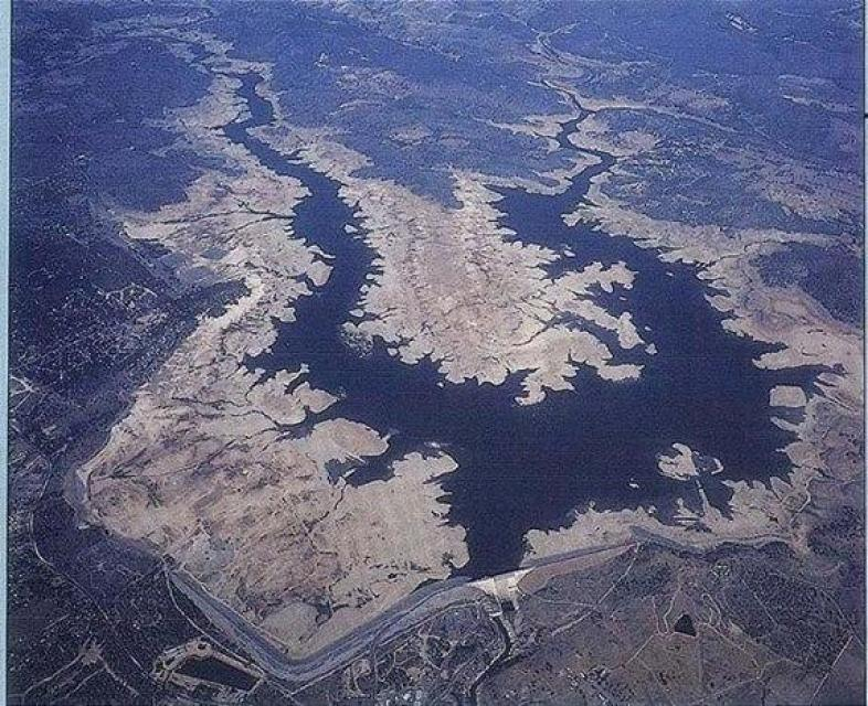 Folsom Lake during the 2015 drought.