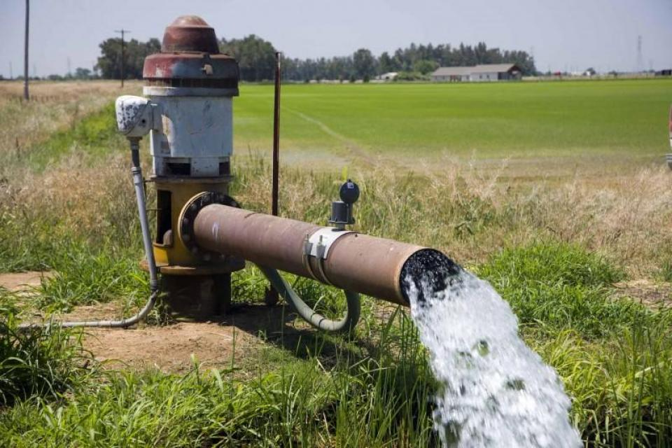 Pumping groundwater in a farm field.