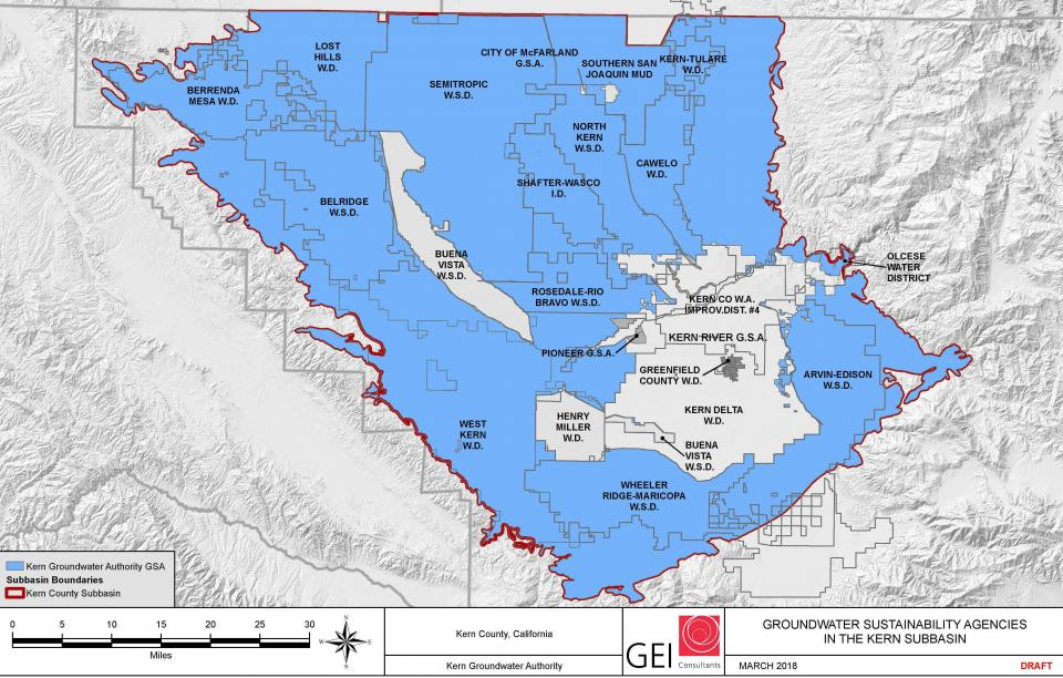 Kern Groundwater Authority encompasses most of the Kern subbasin and is the umbrella groundwater planning entity for 16 public agencies.