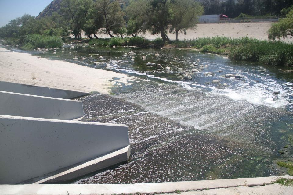 Treated wastewater flows into the Los Angeles River. These types of wastewater  discharges are important sources of water to help maintain river vitality.
