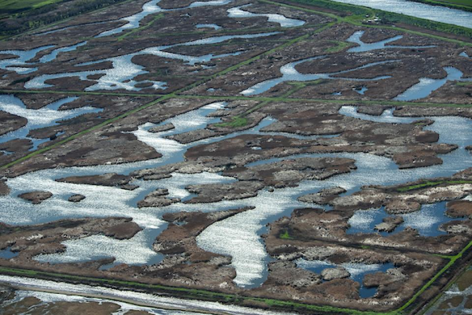 Aerial view of wetlands on Sherman Island in part of the Sacramento-San Joaquin River Delta in Sacramento County.