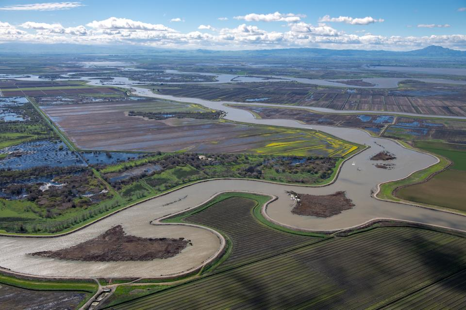 Aerial view of the Sacramento-San Joaquin Delta, California's troubled water hub that has been the source of ongoing controversy over water quality, water deliveries and habitat needs for endangered species.