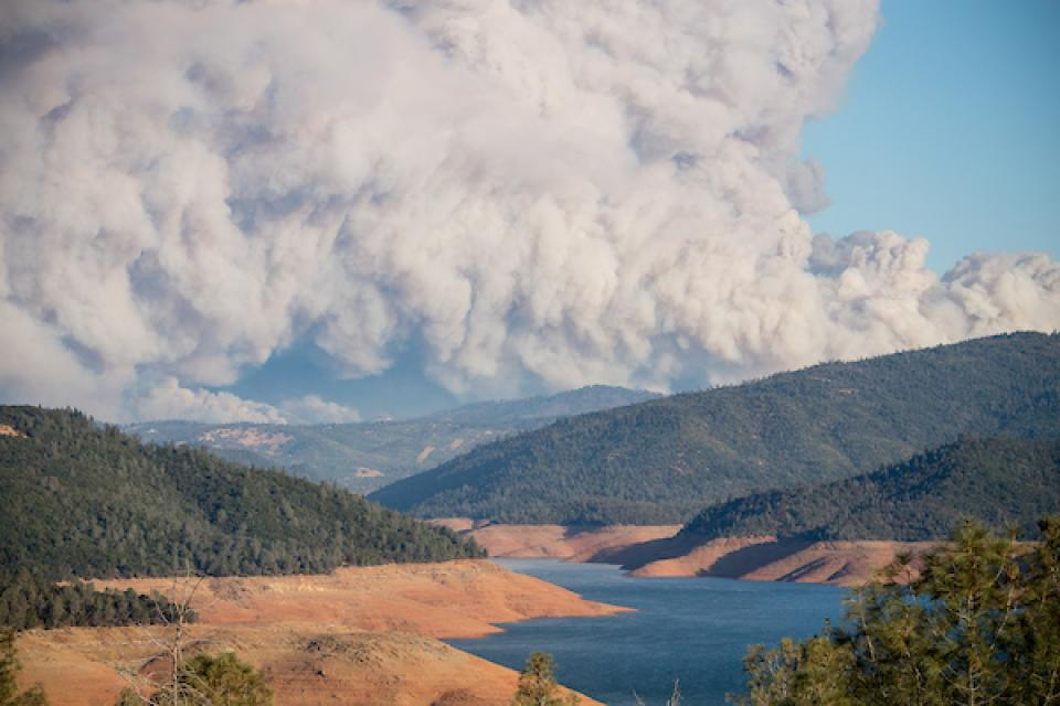 Smoke from the 2018 Camp Fire as viewed from Lake Oroville in Northern California.