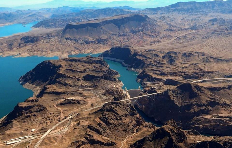 Aerial view of Lake Mead and Hoover Dam on the Colorado River.