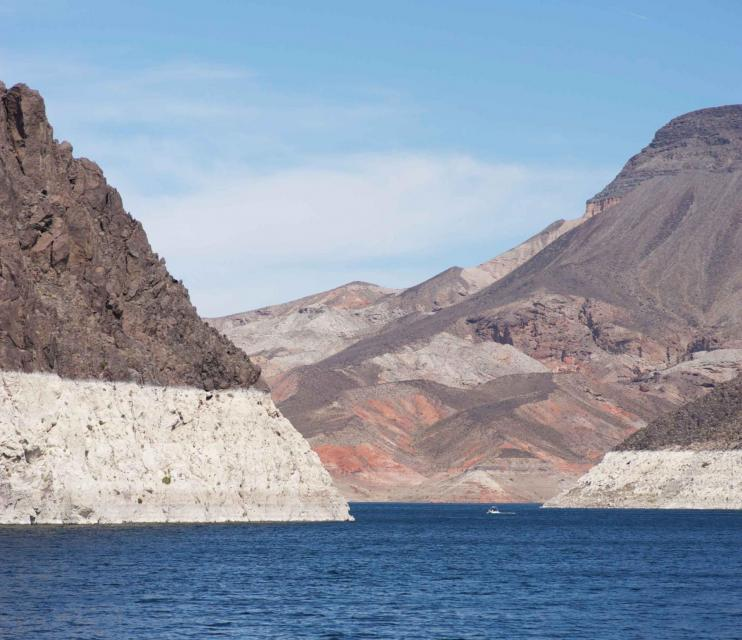 The white bathtub ring along Lake Mead reflects the effects of years of drought in the Colorado River Basin.