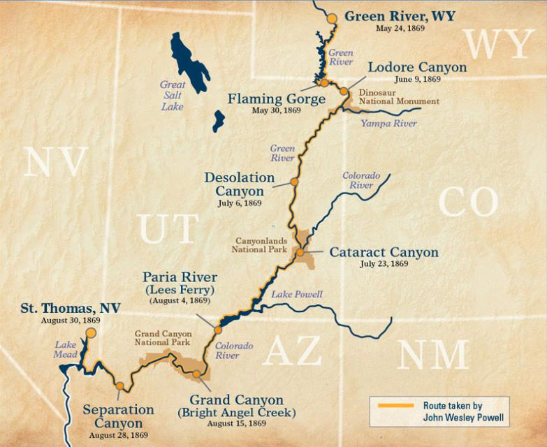 The route of Powell's Colorado River expedition, with key locations noted. (Image: OARS outfitters, used with permission)