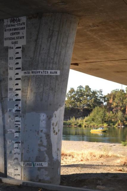 Flood gauge along the Feather River at River Front Park in Marysville.