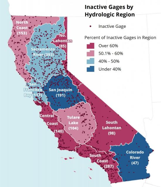Map from The Nature Conservancy of inactive  stream gauges in California.
