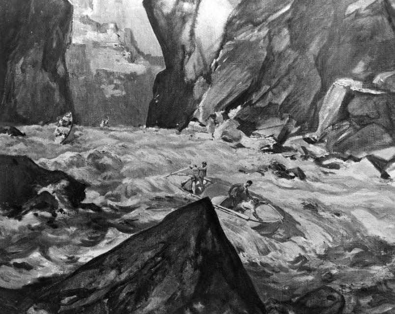 An artist's  sketch of Powell's expedition down a treacherous section of the Colorado River in their wooden boats.