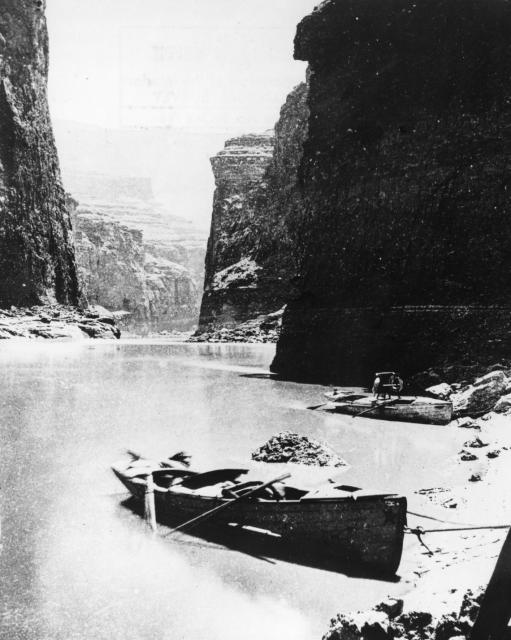 """The boats in Marble Canyon,"" from Powell's second expedition down the Colorado River."