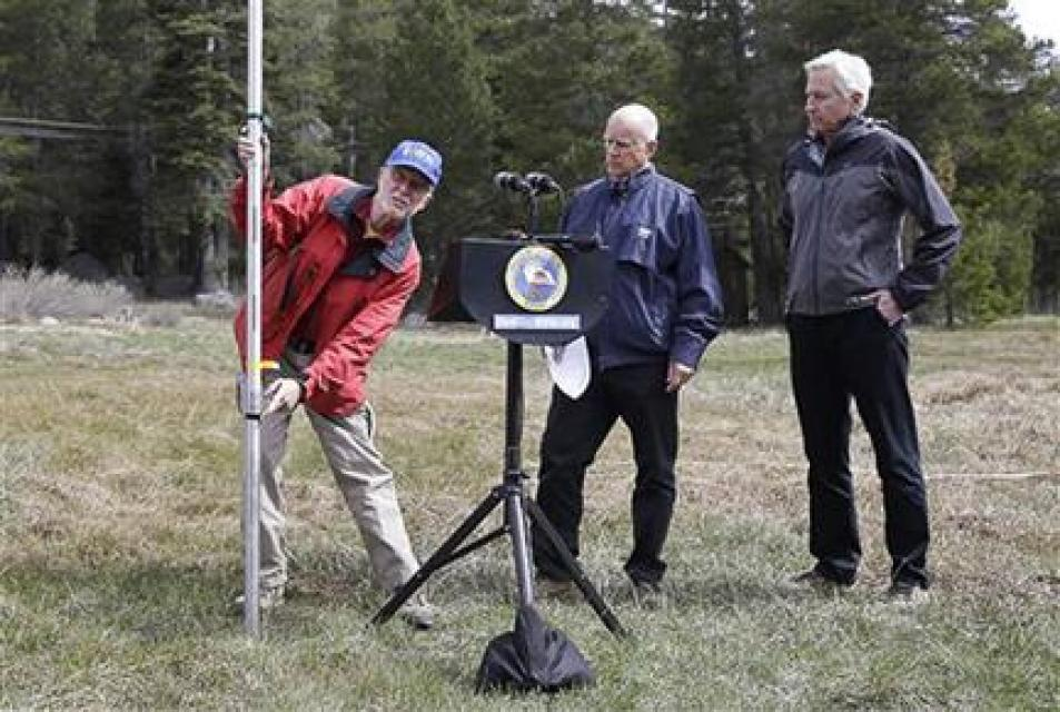 Gov. Jerry Brown (middle) ordered statewide mandatory water restrictions for the first time in history on April 2, 2015 after surveyors found the lowest snow level in the Sierra Nevada snowpack in 65 years of record-keeping.