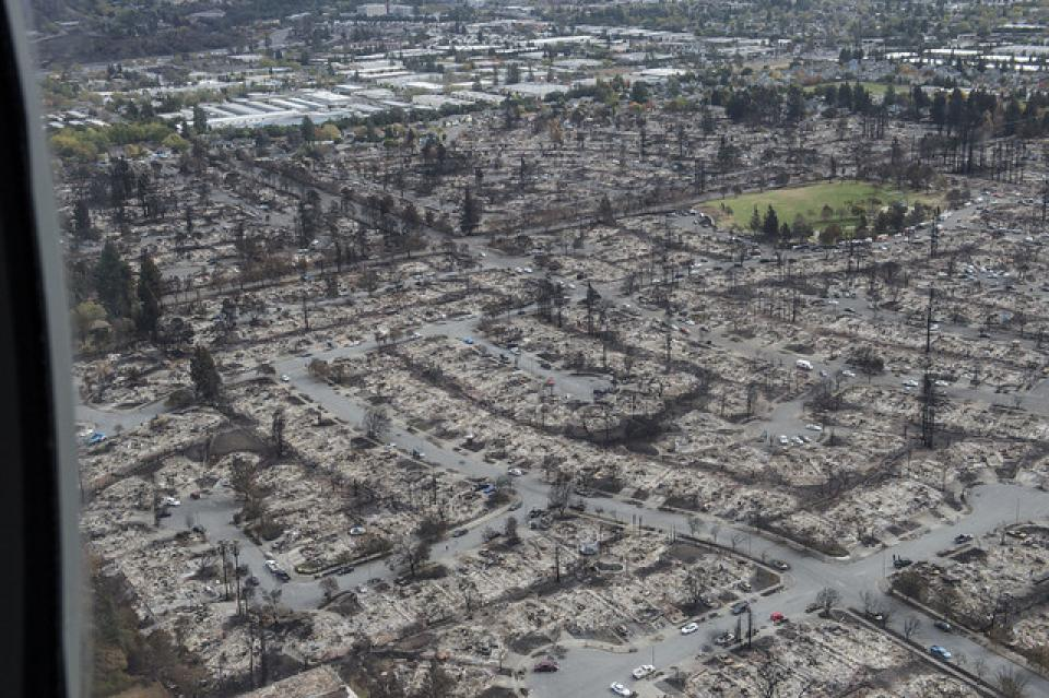 A Sonoma County neighborhood devastated by the Tubbs Fire in 2017.