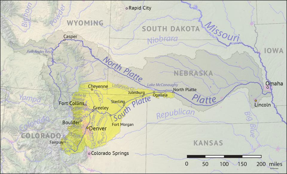 The South Platte River Basin is shaded in yellow.