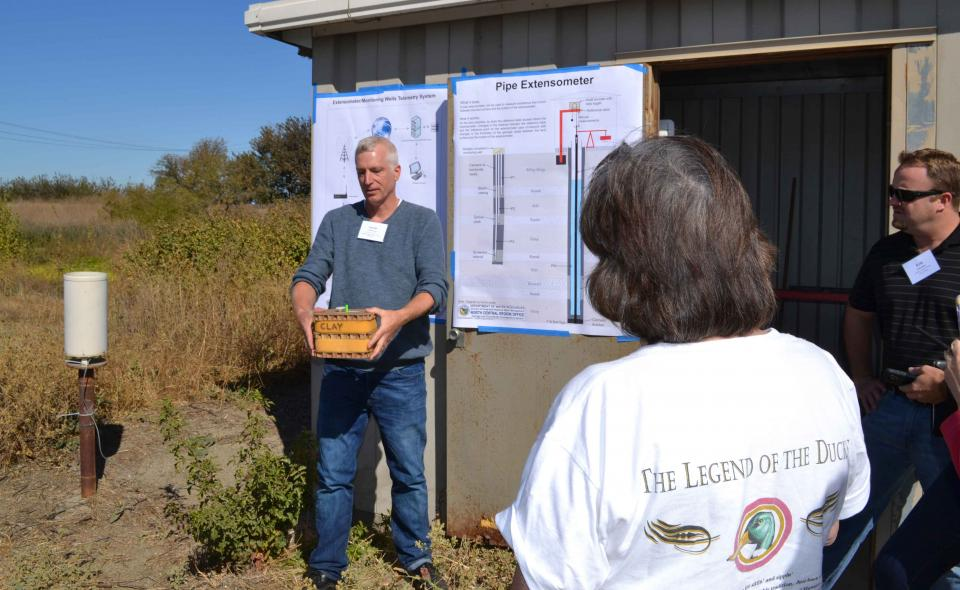 A stop to learn more about extensometers during  the Water Education Foundation's 2016 Groundwater Tour.