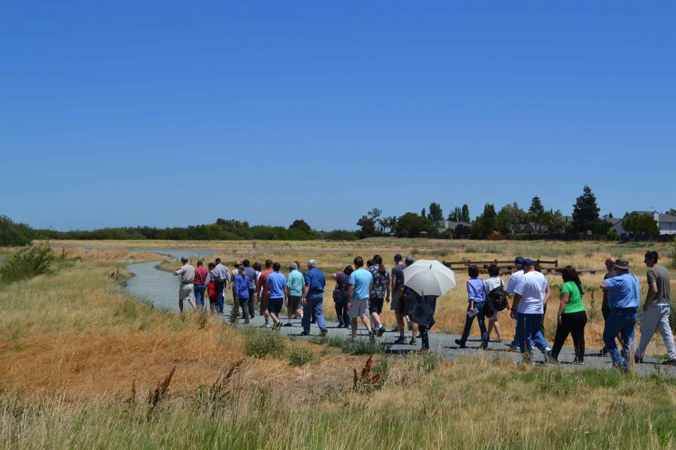 Visitors explore Big Break Regional Shoreline in Oakley.