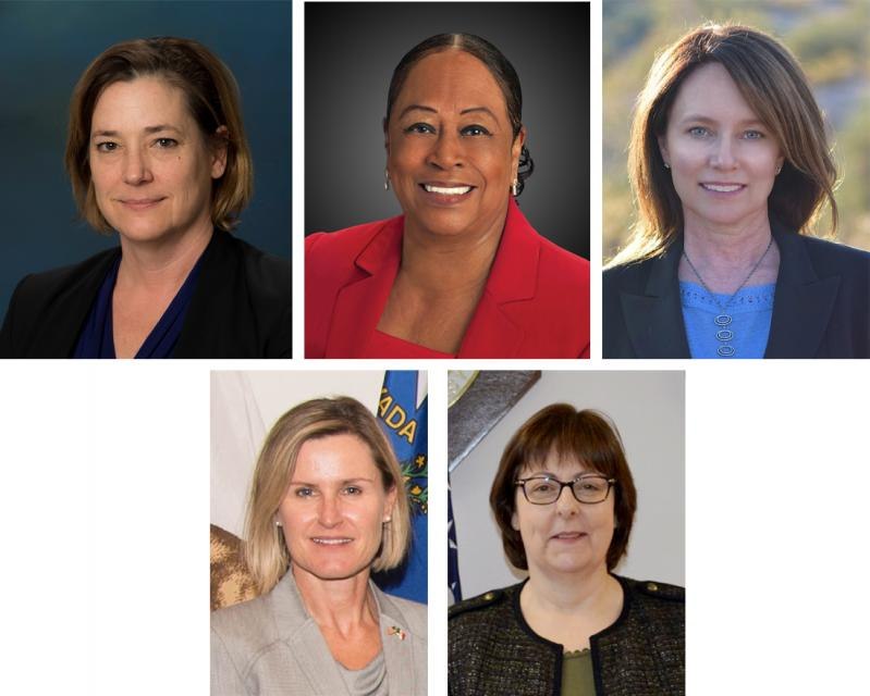 Women named in the last year to water leadership roles (clockwise, from top left): Karla Nemeth, director, California Department of Water Resources; Gloria Gray,  chair, Metropolitan Water District of Southern California; Brenda Burman, Bureau of Reclamation Commissioner; Jayne Harkins,  commissioner, International Boundary and Water Commission, U.S. and Mexico; Amy Haas, executive director, Upper Colorado River Commission.