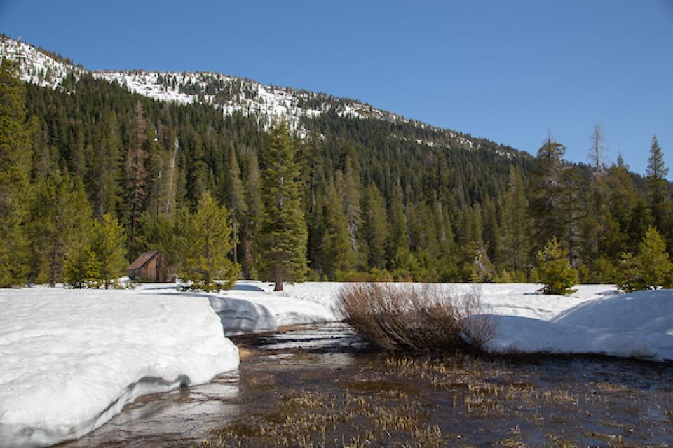 Snowmelt and runoff near the California Department of Water Resources snow survey site in the Sierra Nevada east of Sacramento.