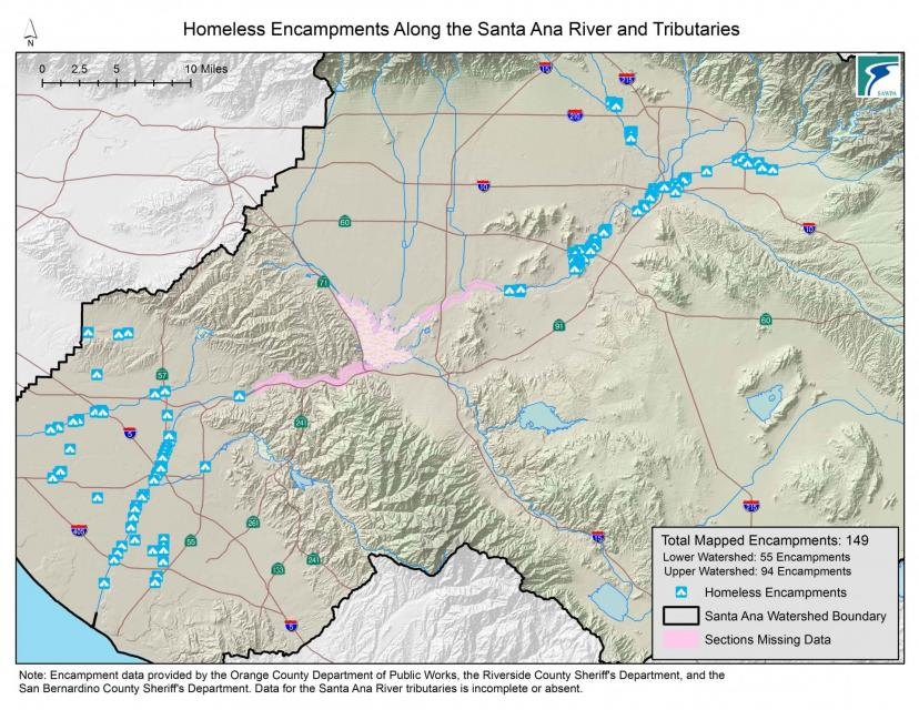 Homeless encampments are marked in blue along the Santa Ana River in Southern California.