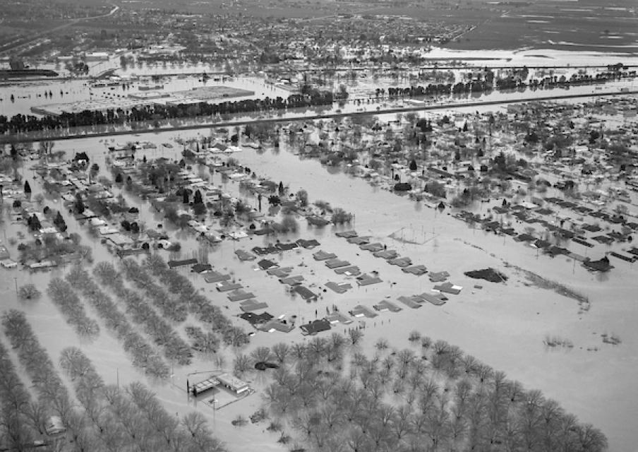 A massive 1986 Northern California flood near Marysville, north of Sacramento, caused the south levee of the Yuba River to breach, forcing thousands of residents to evacuate their homes.