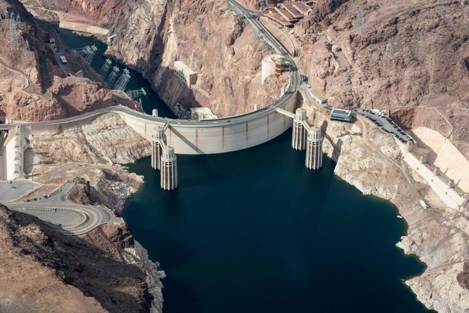 This aerial view of Hoover Dam shows how far the level of Lake Mead has fallen due to ongoing drought conditions.