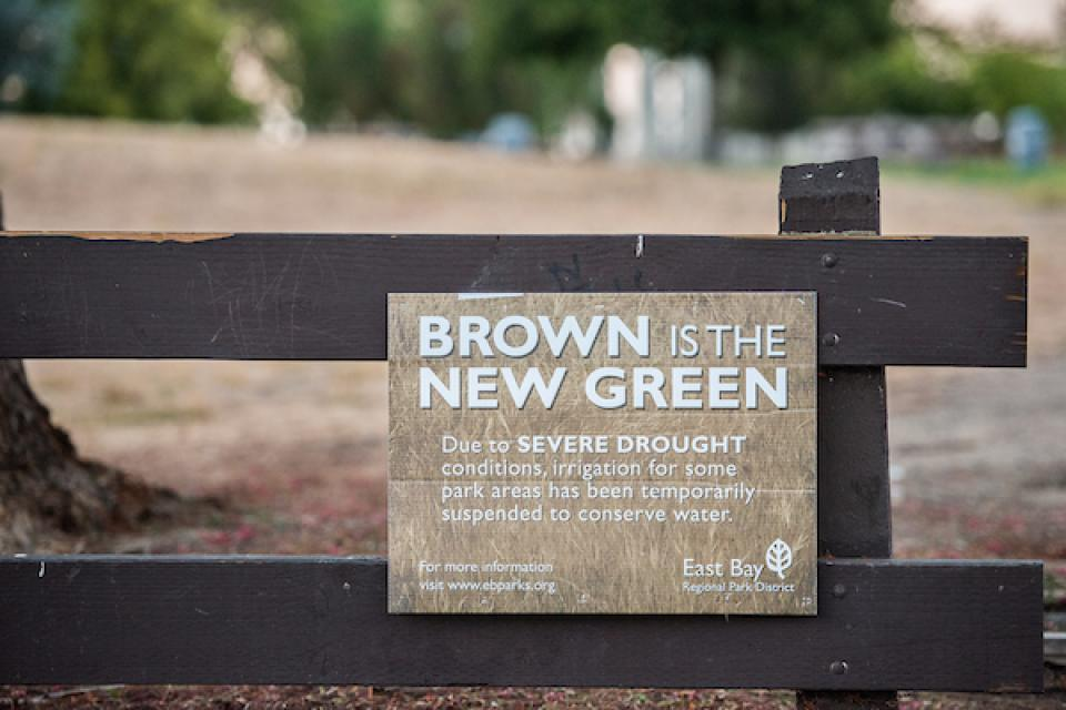 The Antioch/Oakley Regional Shoreline park displays a sign announcing their water conservation efforts at the park in 2014.