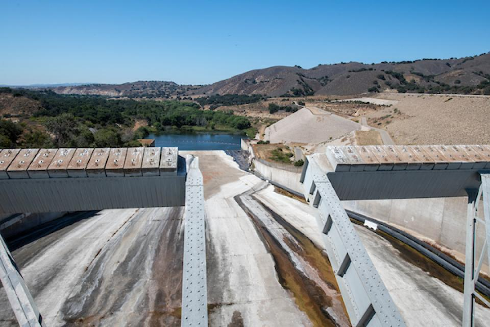 The spillway at Lake Cachuma in central Santa Barbara County. Drought in 2016 plunged its storage to about 8 percent of capacity.