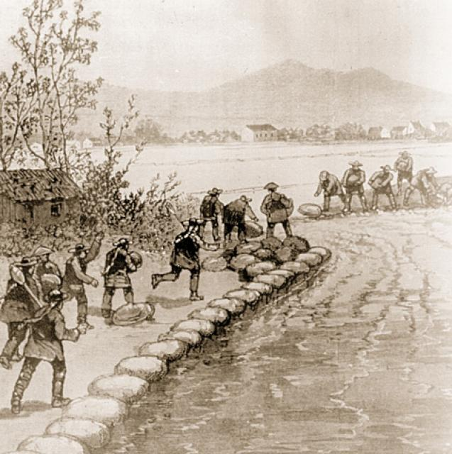 Historic sketch of laborers building a levee in the Sacramento-San Joaquin Delta.