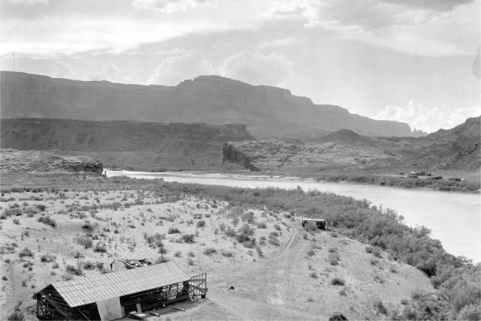 Lee Ferry, the dividing point under the 1922 Colorado River Compact between the Upper Basin and Lower Basin.