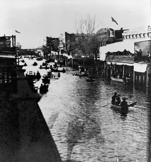 Sacramento's K Street during the 1862 flood that inundated the Central Valley.