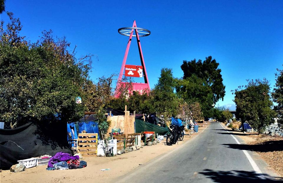 Homeless encampment near Angel Stadium
