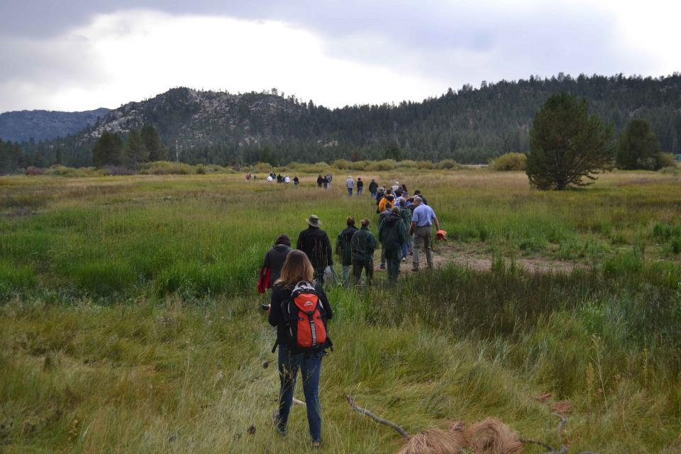 Headwaters Tour participants hike through a meadow to examine water resources.
